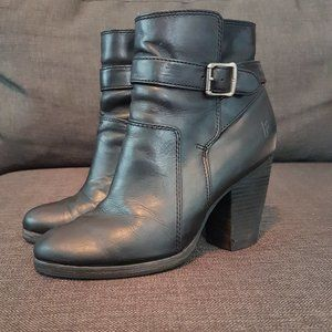 Black Frye Patty Riding Bootie with Stacked Heel